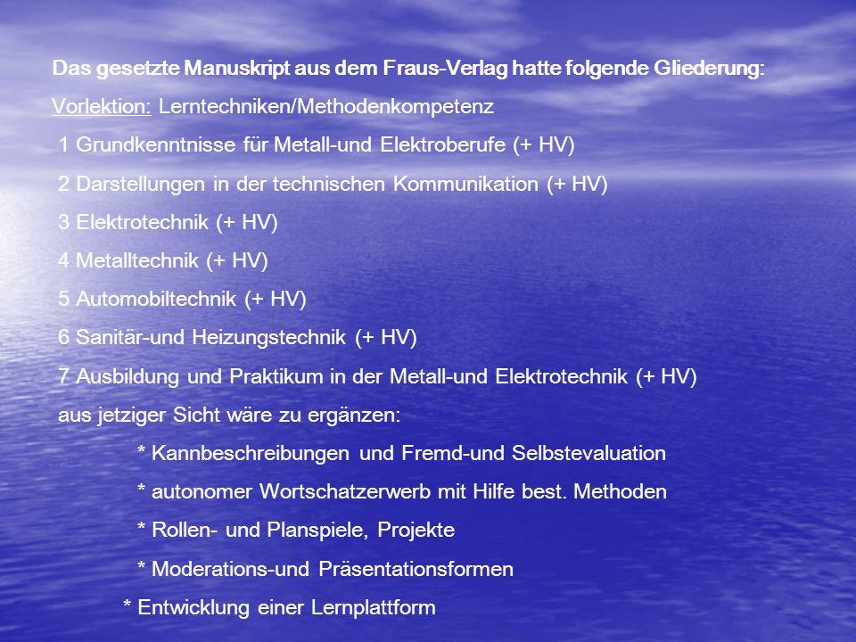 Das gesetzte Manuskript aus dem Fraus-Verlag hatte folgende Gliederung: Vorlektion: Lerntechniken/Methodenkompetenz 1 Grundkenntnisse für Metall-und E