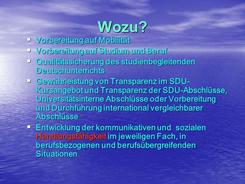 Wozu?  Vorbereitung auf Mobilität  Vorbereitung auf Studium und Beruf  Qualitätssicherung des studienbegleitenden Deutschunterrichts  Gewährleistu