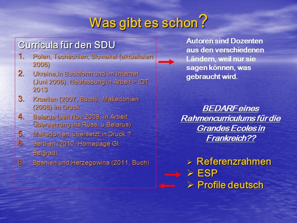 Was gibt es schon ? Curricula für den SDU 1. Polen, Tschechien, Slowakei (aktualisiert 2006) 2. Ukraine,in Buchform und im Internet (Juni 2006), Neufa