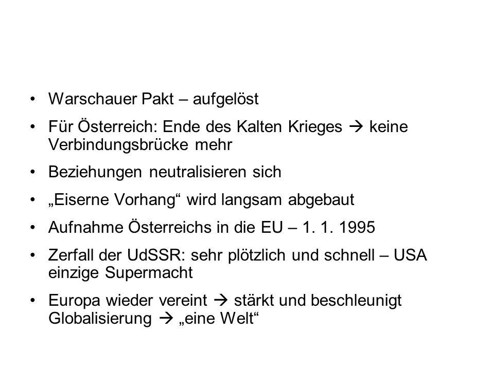 """Warschauer Pakt – aufgelöst Für Österreich: Ende des Kalten Krieges  keine Verbindungsbrücke mehr Beziehungen neutralisieren sich """"Eiserne Vorhang"""" w"""