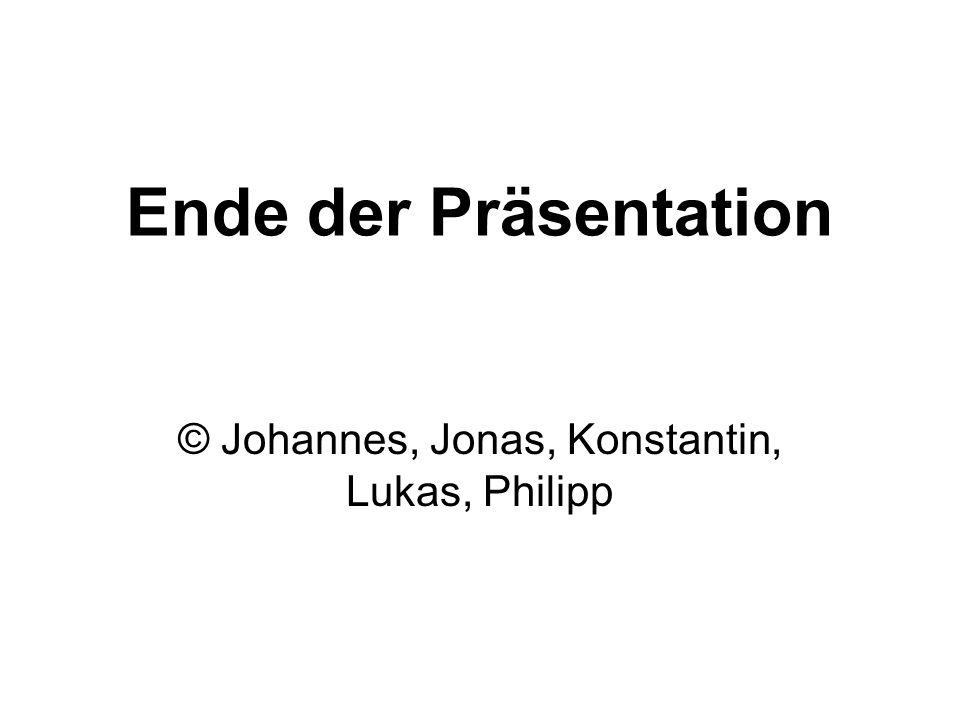 Ende der Präsentation © Johannes, Jonas, Konstantin, Lukas, Philipp