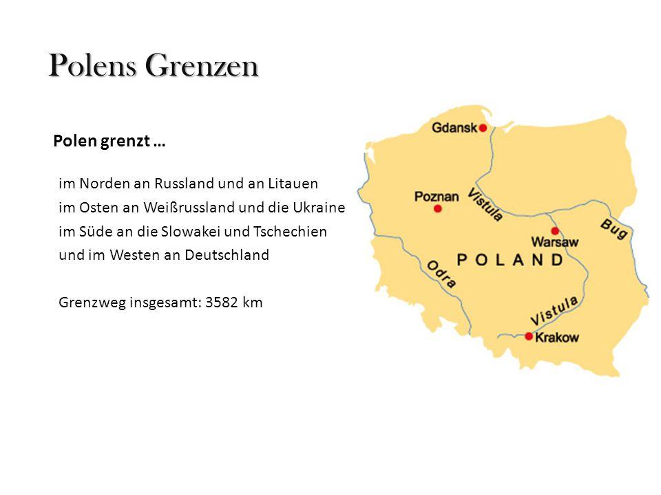 Polens Flüsse Die längsten Flüsse: Weichsel1.047 km Oder854 km diese 2 Flüsse münden wie zahlreiche kleinere in die Ostsee Warthe808 km Bug772 km Weitere erwähnenswerte Flüsse: Alle, Angerapp, Pregel, Hancza, Memel, Iser… Weichsel