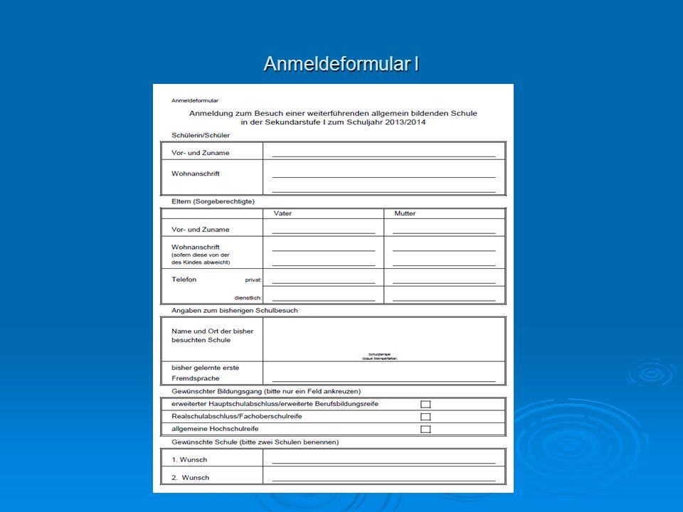 Anmeldeformular I