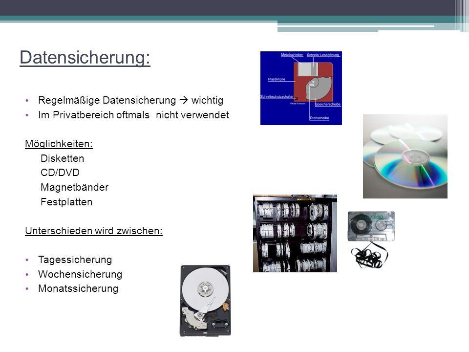 Datensicherung: Regelmäßige Datensicherung  wichtig Im Privatbereich oftmals nicht verwendet Möglichkeiten: Disketten CD/DVD Magnetbänder Festplatten