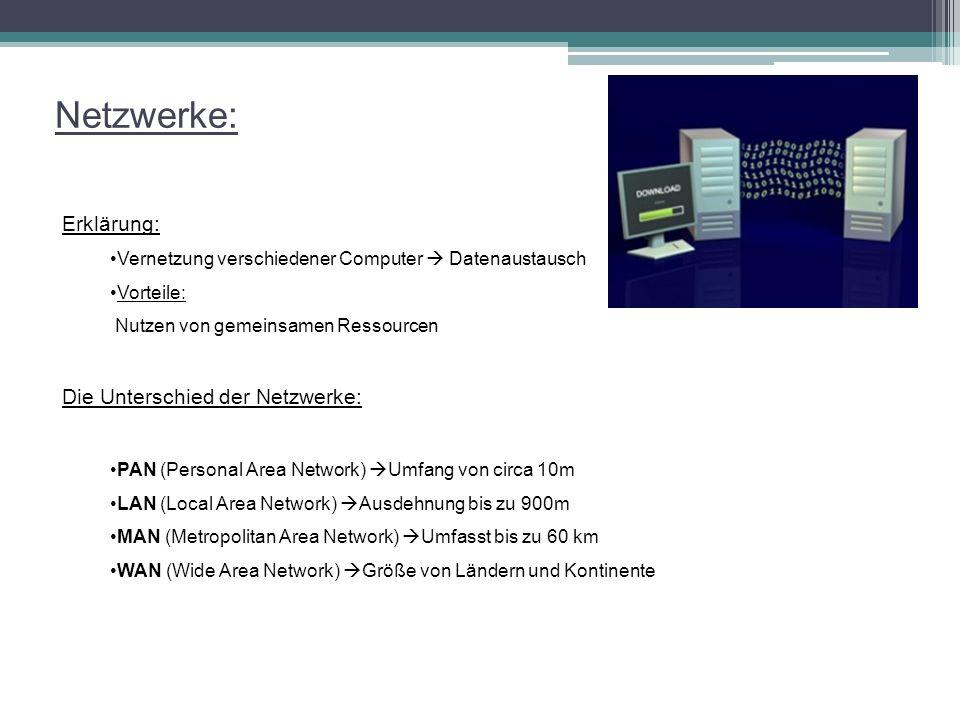 Netzwerke: Erklärung: Vernetzung verschiedener Computer  Datenaustausch Vorteile: Nutzen von gemeinsamen Ressourcen Die Unterschied der Netzwerke: PA