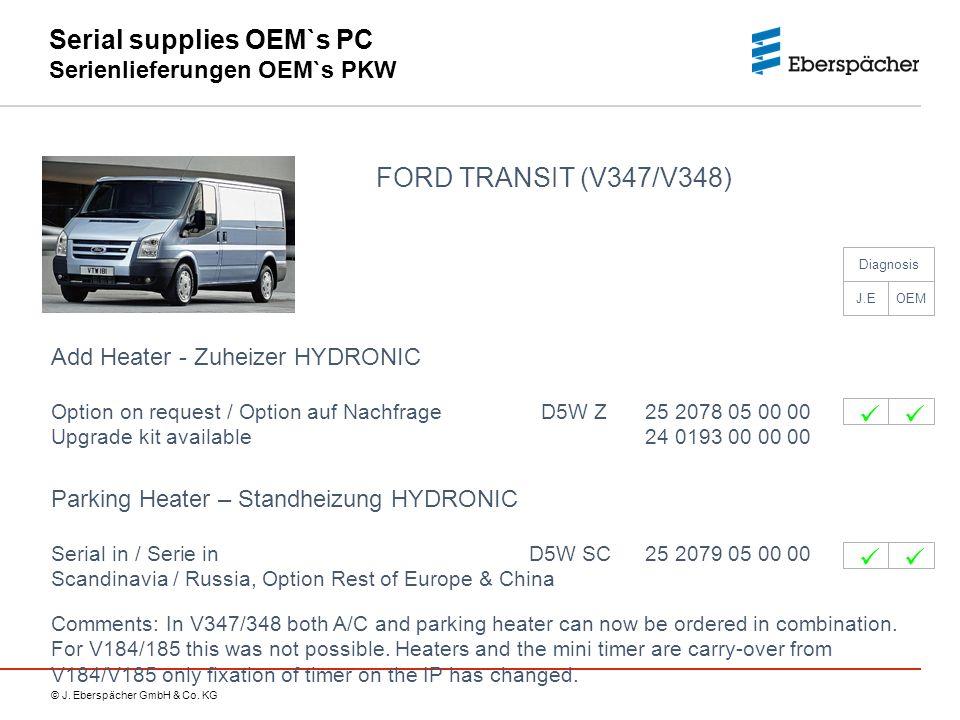 © J. Eberspächer GmbH & Co. KG Serial supplies OEM`s PC Serienlieferungen OEM`s PKW FORD TRANSIT (V347/V348) Add Heater - Zuheizer HYDRONIC Option on