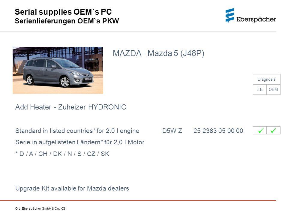 © J. Eberspächer GmbH & Co. KG Serial supplies OEM`s PC Serienlieferungen OEM`s PKW MAZDA - Mazda 5 (J48P) Add Heater - Zuheizer HYDRONIC Standard in