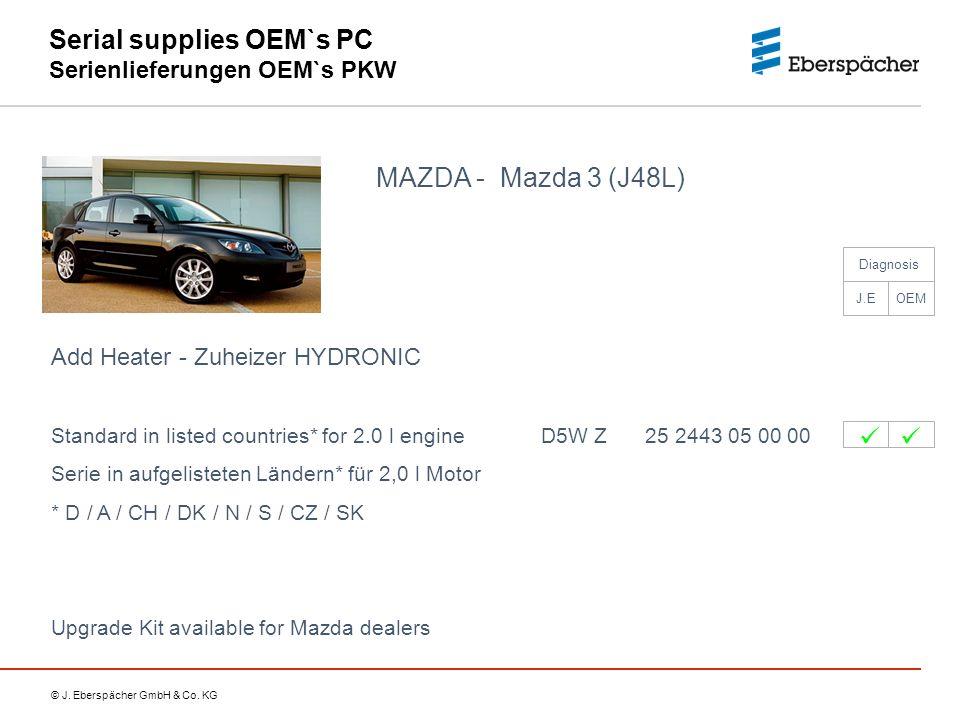 © J. Eberspächer GmbH & Co. KG Serial supplies OEM`s PC Serienlieferungen OEM`s PKW MAZDA - Mazda 3 (J48L) Add Heater - Zuheizer HYDRONIC Standard in