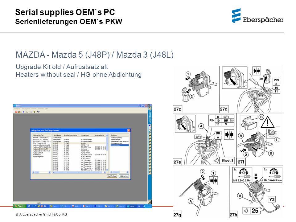© J. Eberspächer GmbH & Co. KG Serial supplies OEM`s PC Serienlieferungen OEM`s PKW MAZDA - Mazda 5 (J48P) / Mazda 3 (J48L) Upgrade Kit old / Aufrüsts
