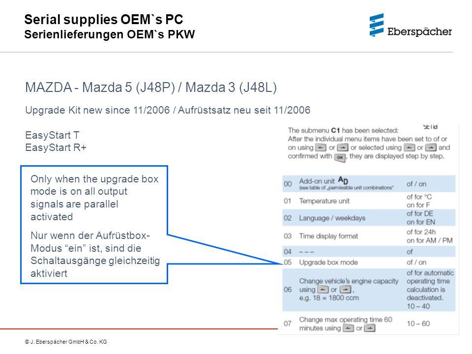 © J. Eberspächer GmbH & Co. KG Serial supplies OEM`s PC Serienlieferungen OEM`s PKW MAZDA - Mazda 5 (J48P) / Mazda 3 (J48L) Only when the upgrade box