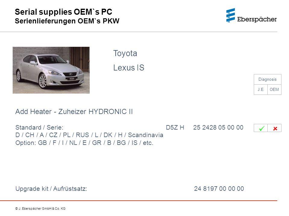 © J. Eberspächer GmbH & Co. KG Serial supplies OEM`s PC Serienlieferungen OEM`s PKW Toyota Lexus IS Add Heater - Zuheizer HYDRONIC II Standard / Serie