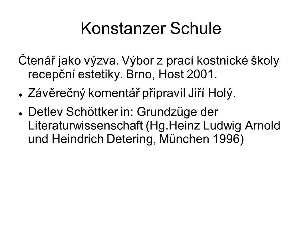 Konstanzer Schule Čtenář jako výzva. Výbor z prací kostnické školy recepční estetiky.