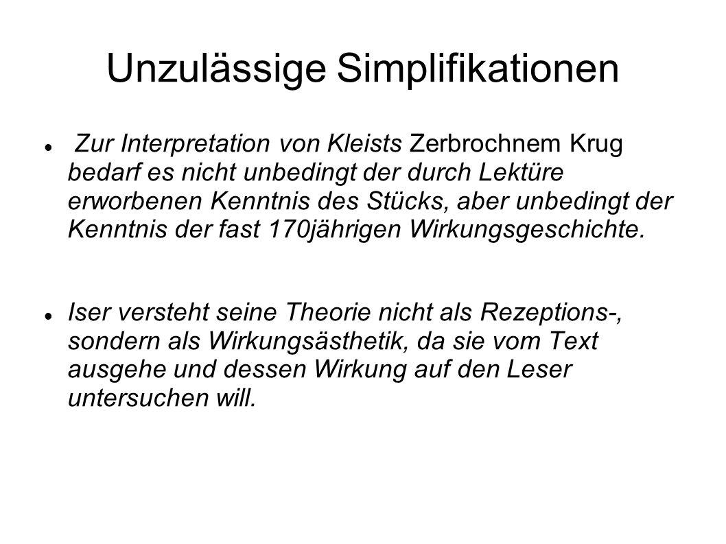 Unzulässige Simplifikationen Zur Interpretation von Kleists Zerbrochnem Krug bedarf es nicht unbedingt der durch Lektüre erworbenen Kenntnis des Stücks, aber unbedingt der Kenntnis der fast 170jährigen Wirkungsgeschichte.