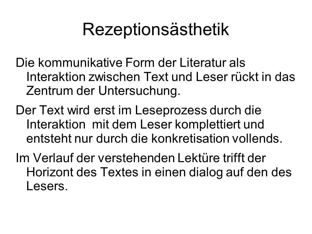 Rezeptionsästhetik Die kommunikative Form der Literatur als Interaktion zwischen Text und Leser rückt in das Zentrum der Untersuchung.