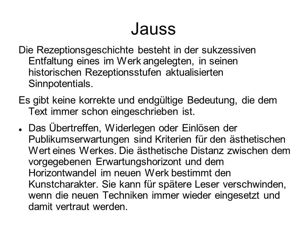 Jauss Die Rezeptionsgeschichte besteht in der sukzessiven Entfaltung eines im Werk angelegten, in seinen historischen Rezeptionsstufen aktualisierten Sinnpotentials.