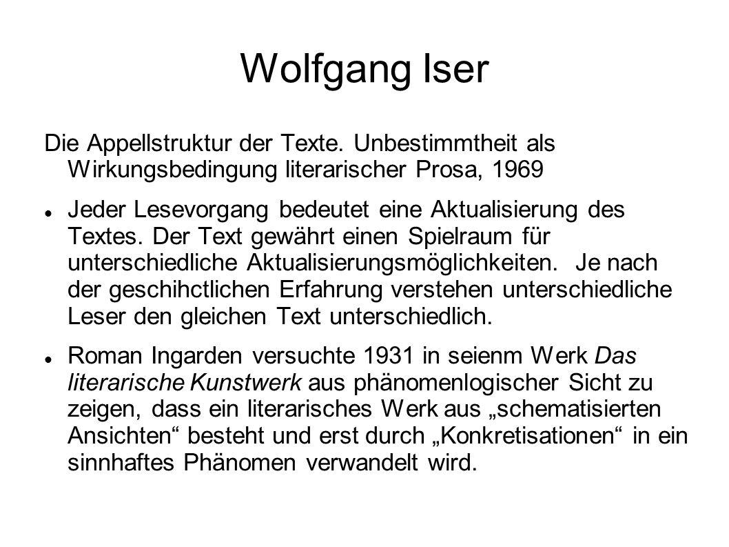 """Iser Die Unbestimmtheits- oder Leerstellen werden zur """"Basis einer Textstruktur, in der der Leser immer schon mitgedacht ist (Iser 1970, 248)."""