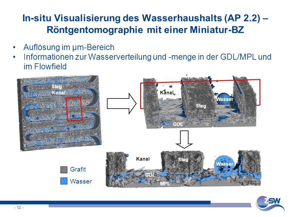- 12 - In-situ Visualisierung des Wasserhaushalts (AP 2.2) – Röntgentomographie mit einer Miniatur-BZ Auflösung im µm-Bereich Informationen zur Wasser