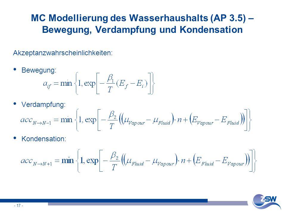 - 17 - MC Modellierung des Wasserhaushalts (AP 3.5) – Bewegung, Verdampfung und Kondensation Akzeptanzwahrscheinlichkeiten: Bewegung: Verdampfung: Kon