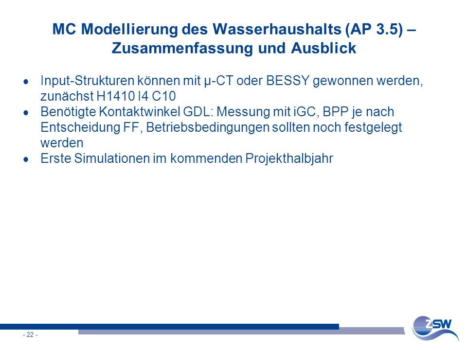 - 22 - MC Modellierung des Wasserhaushalts (AP 3.5) – Zusammenfassung und Ausblick  Input-Strukturen können mit µ-CT oder BESSY gewonnen werden, zunä