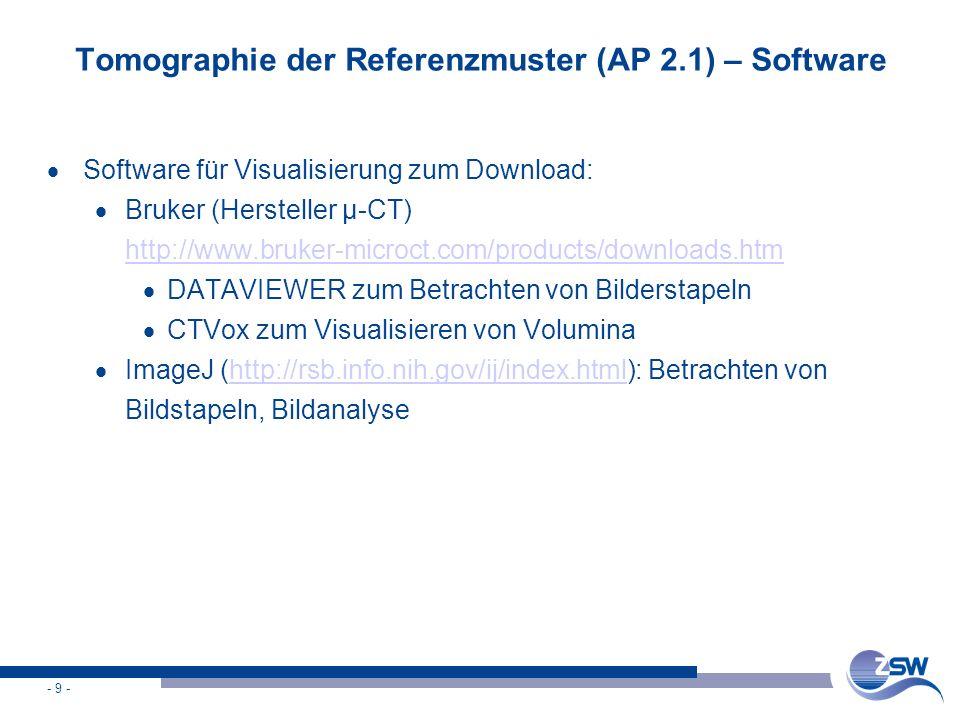 - 9 - Tomographie der Referenzmuster (AP 2.1) – Software  Software für Visualisierung zum Download:  Bruker (Hersteller µ-CT) http://www.bruker-micr