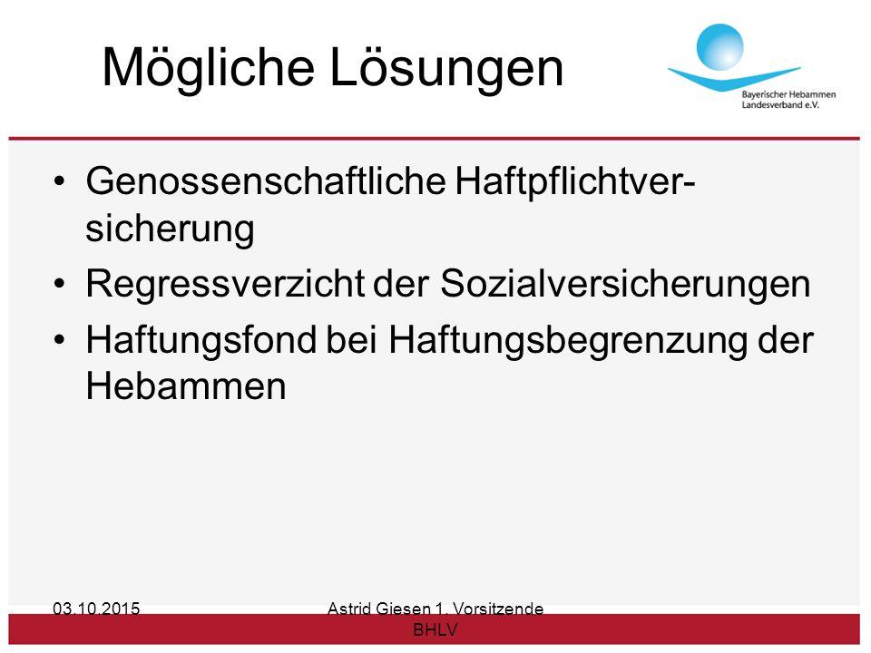 Mögliche Lösungen Genossenschaftliche Haftpflichtver- sicherung Regressverzicht der Sozialversicherungen Haftungsfond bei Haftungsbegrenzung der Hebammen 03.10.2015Astrid Giesen 1.