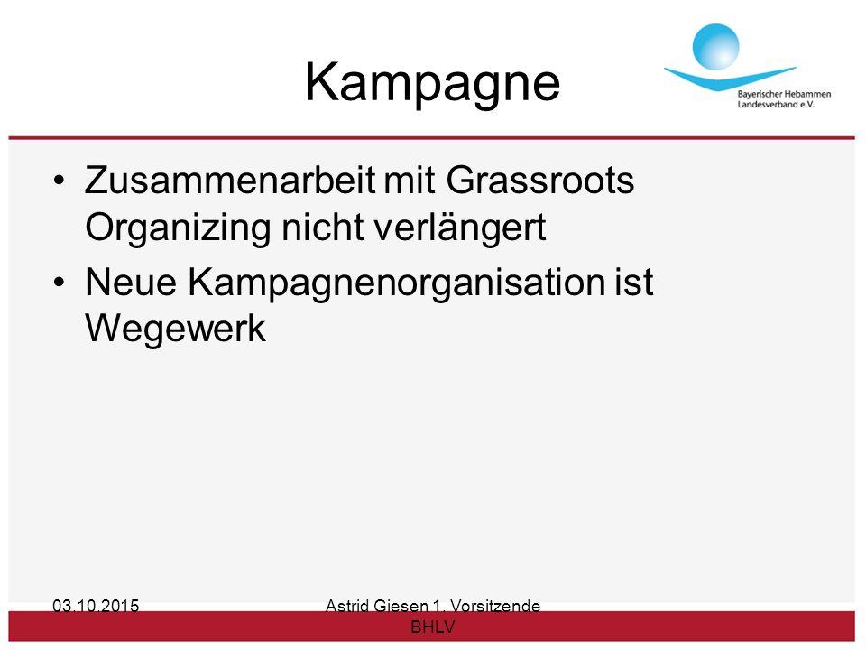 Kampagne Zusammenarbeit mit Grassroots Organizing nicht verlängert Neue Kampagnenorganisation ist Wegewerk 03.10.2015Astrid Giesen 1.