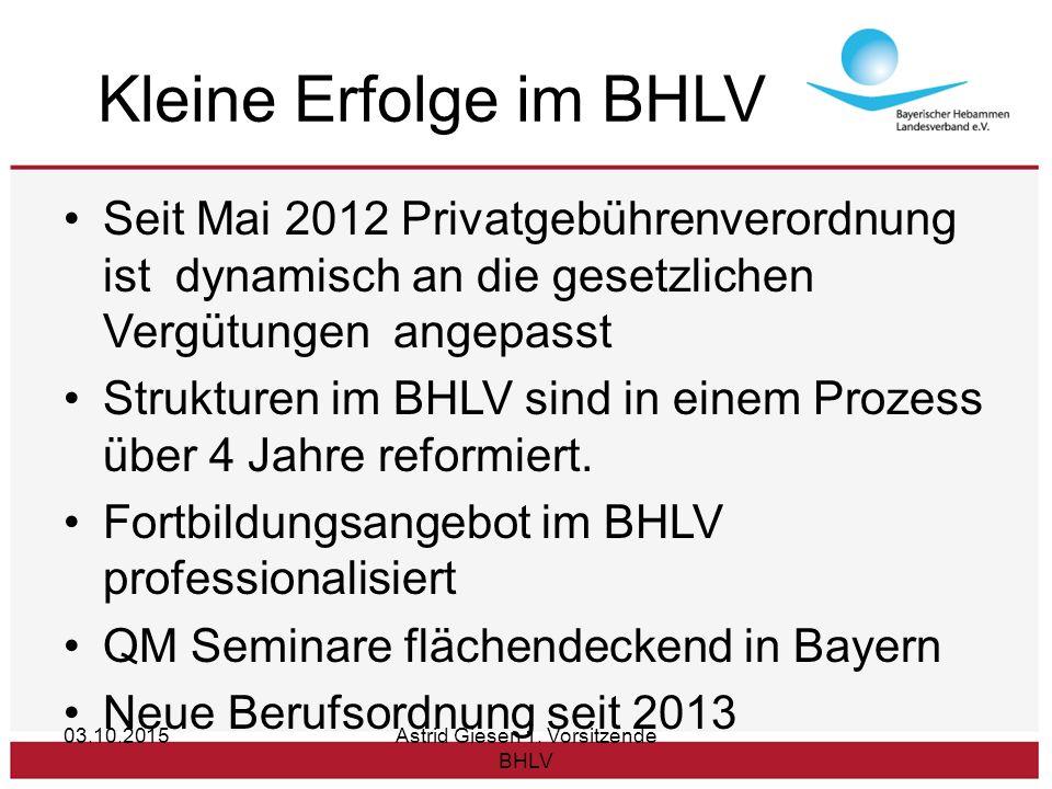 Kleine Erfolge im BHLV Seit Mai 2012 Privatgebührenverordnung ist dynamisch an die gesetzlichen Vergütungen angepasst Strukturen im BHLV sind in einem Prozess über 4 Jahre reformiert.