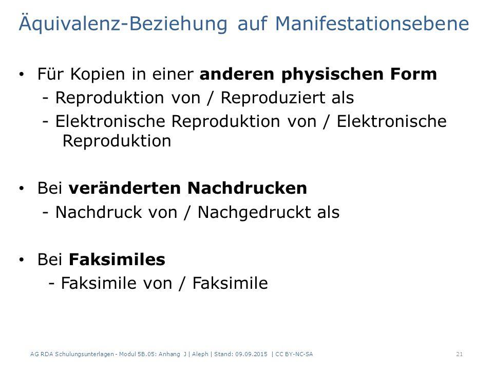 Äquivalenz-Beziehung auf Manifestationsebene Für Kopien in einer anderen physischen Form - Reproduktion von / Reproduziert als - Elektronische Reproduktion von / Elektronische Reproduktion Bei veränderten Nachdrucken - Nachdruck von / Nachgedruckt als Bei Faksimiles - Faksimile von / Faksimile AG RDA Schulungsunterlagen - Modul 5B.05: Anhang J | Aleph | Stand: 09.09.2015 | CC BY-NC-SA21