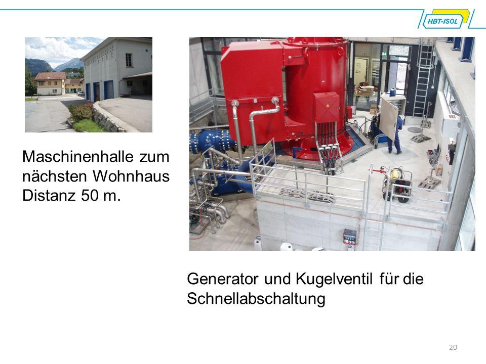 20 Maschinenhalle zum nächsten Wohnhaus Distanz 50 m. Generator und Kugelventil für die Schnellabschaltung