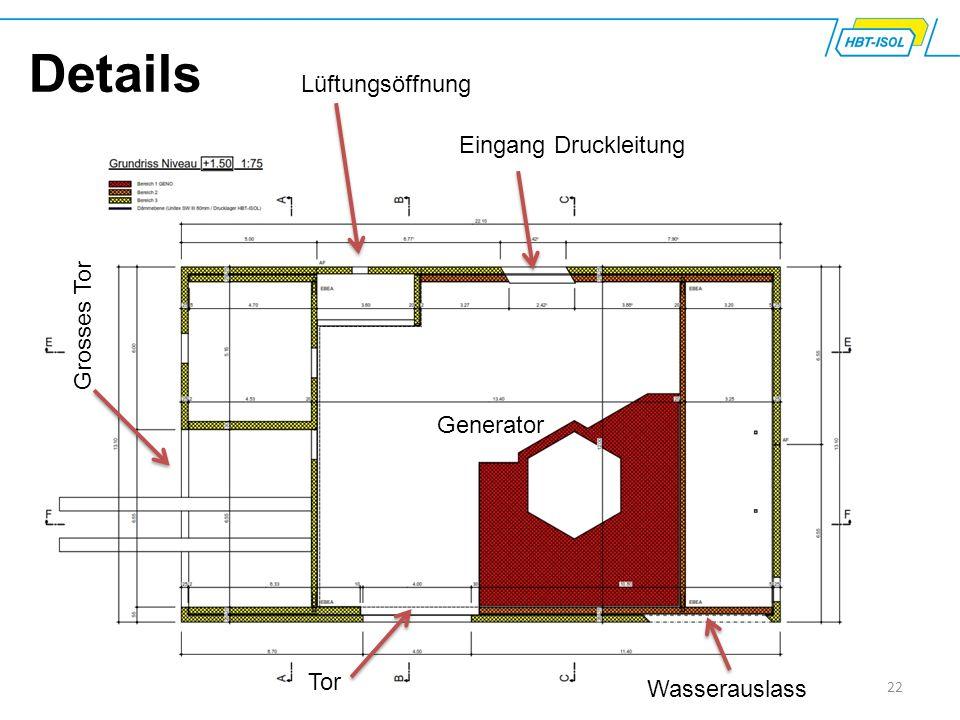 22 Details Eingang Druckleitung Grosses Tor Lüftungsöffnung Wasserauslass Tor Generator