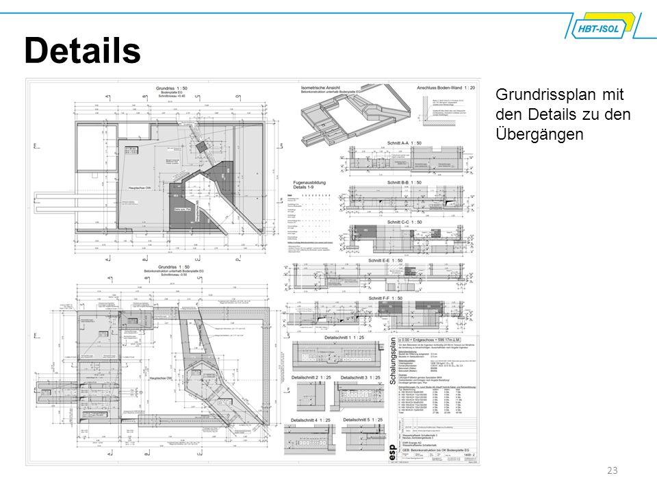 23 Details Grundrissplan mit den Details zu den Übergängen