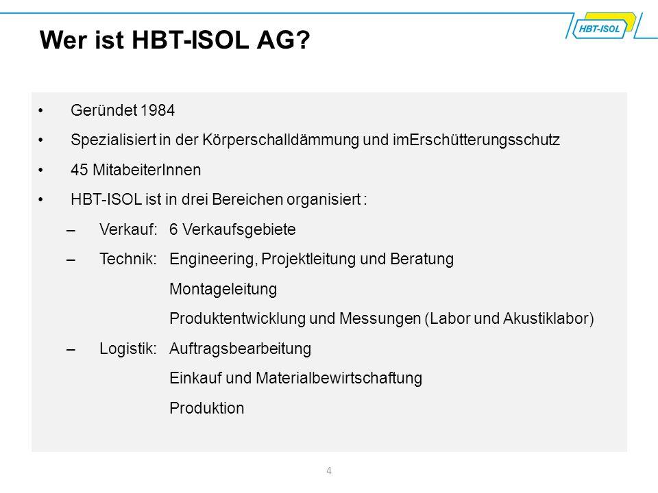 Geründet 1984 Spezialisiert in der Körperschalldämmung und imErschütterungsschutz 45 MitabeiterInnen HBT-ISOL ist in drei Bereichen organisiert : –Ver