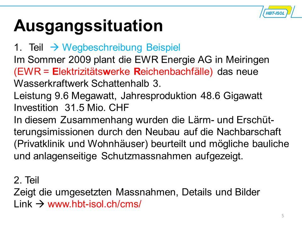 5 Ausgangssituation 1.Teil  Wegbeschreibung Beispiel Im Sommer 2009 plant die EWR Energie AG in Meiringen (EWR = Elektrizitätswerke Reichenbachfälle) das neue Wasserkraftwerk Schattenhalb 3.