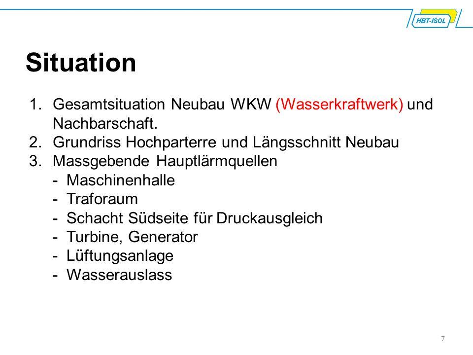 7 Situation 1.Gesamtsituation Neubau WKW (Wasserkraftwerk) und Nachbarschaft. 2.Grundriss Hochparterre und Längsschnitt Neubau 3.Massgebende Hauptlärm