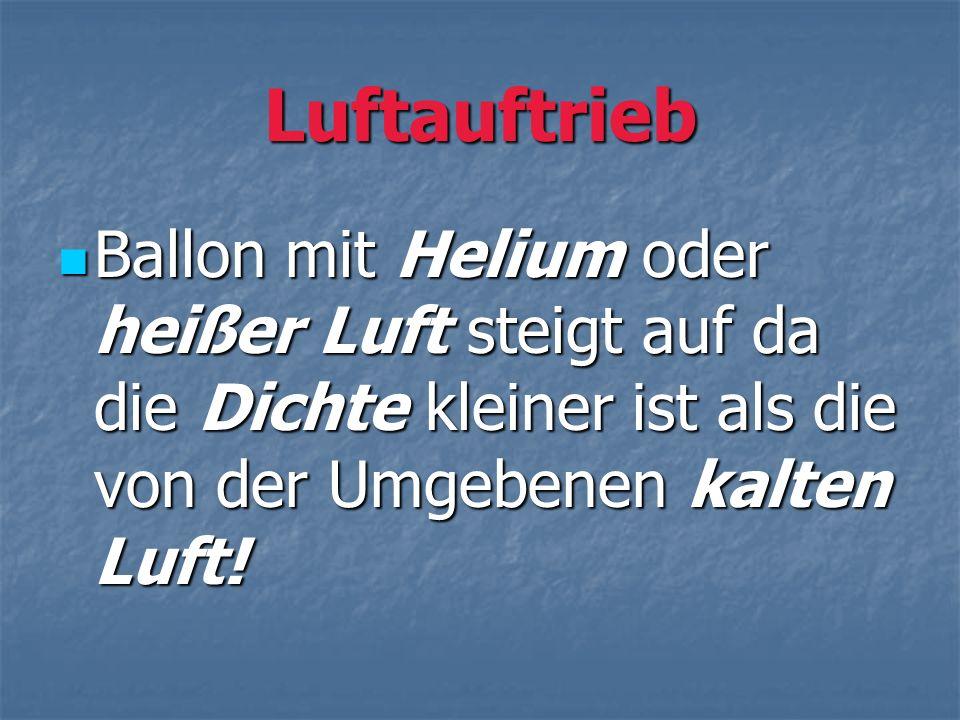 Luftauftrieb Ballon mit Helium oder heißer Luft steigt auf da die Dichte kleiner ist als die von der Umgebenen kalten Luft! Ballon mit Helium oder hei
