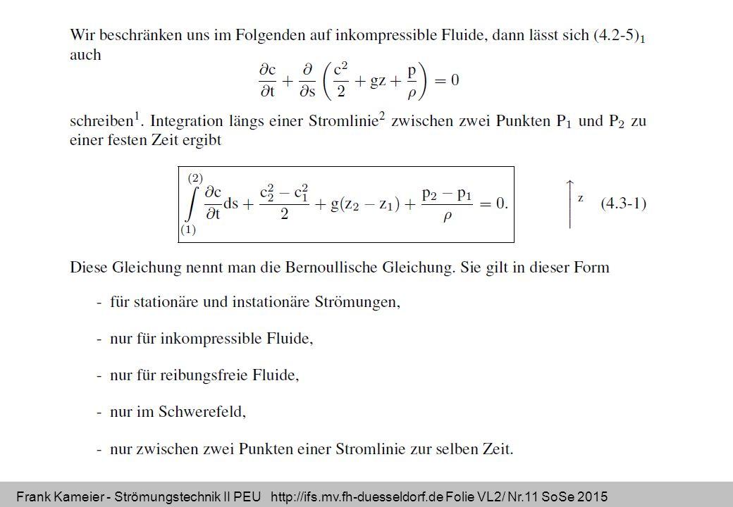 Frank Kameier - Strömungstechnik II PEU http://ifs.mv.fh-duesseldorf.de Folie VL2/ Nr.11 SoSe 2015