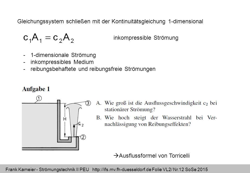 Frank Kameier - Strömungstechnik II PEU http://ifs.mv.fh-duesseldorf.de Folie VL2/ Nr.12 SoSe 2015 Gleichungssystem schließen mit der Kontinuitätsglei