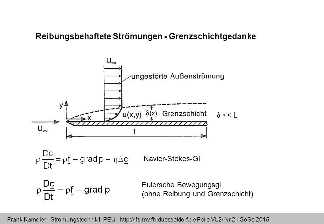 Frank Kameier - Strömungstechnik II PEU http://ifs.mv.fh-duesseldorf.de Folie VL2/ Nr.21 SoSe 2015 Reibungsbehaftete Strömungen - Grenzschichtgedanke