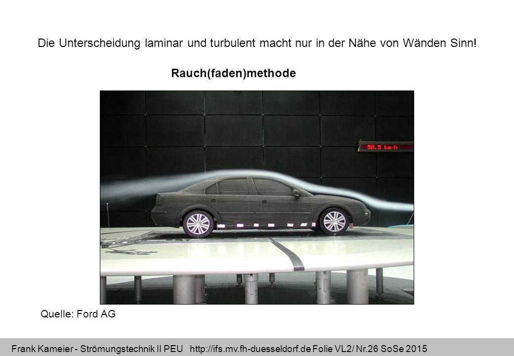 Frank Kameier - Strömungstechnik II PEU http://ifs.mv.fh-duesseldorf.de Folie VL2/ Nr.26 SoSe 2015 Rauch(faden)methode Quelle: Ford AG Die Unterscheid