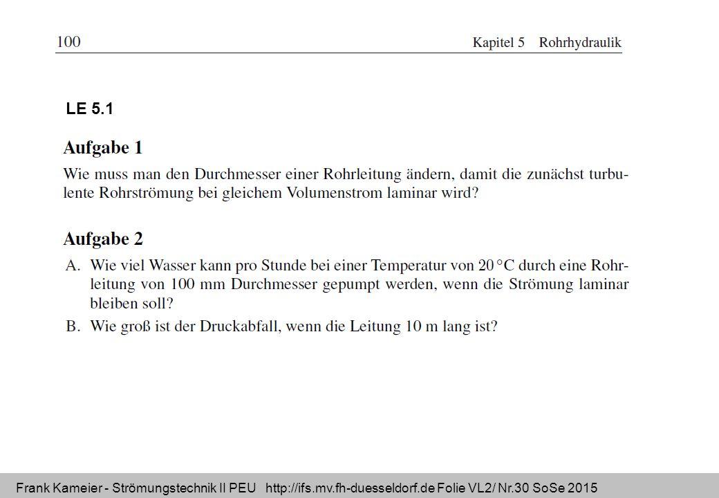 Frank Kameier - Strömungstechnik II PEU http://ifs.mv.fh-duesseldorf.de Folie VL2/ Nr.30 SoSe 2015 LE 5.1