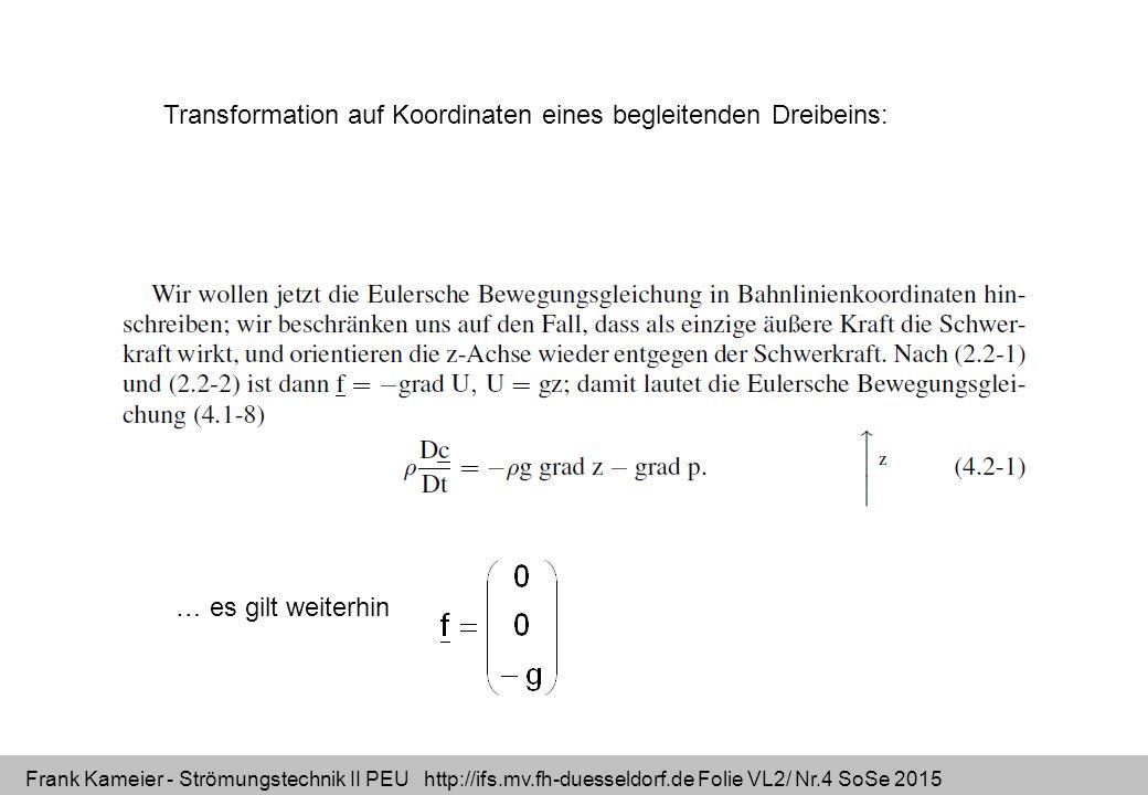 Frank Kameier - Strömungstechnik II PEU http://ifs.mv.fh-duesseldorf.de Folie VL2/ Nr.15 SoSe 2015 Dimensionsbetrachtung Massenerhaltung /Kontinuitäts-Gl.