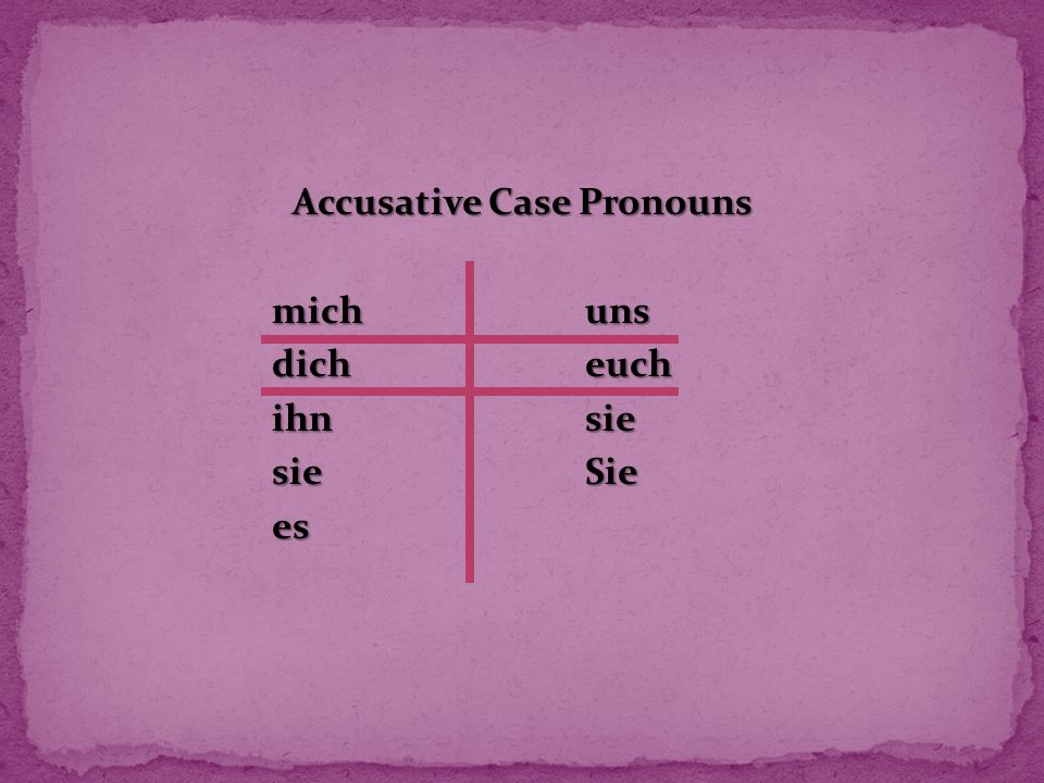 Accusative Case Pronouns michuns dicheuch ihnsie sieSie es