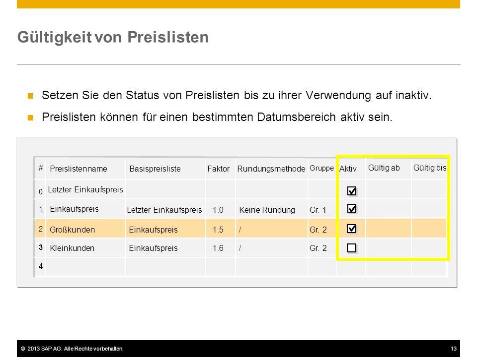©2013 SAP AG. Alle Rechte vorbehalten.13 Gültigkeit von Preislisten Setzen Sie den Status von Preislisten bis zu ihrer Verwendung auf inaktiv. Preisli