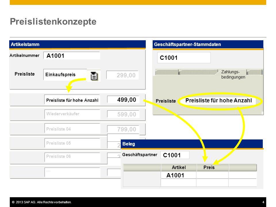 ©2013 SAP AG. Alle Rechte vorbehalten.4 Preislistenkonzepte Preisliste Artikelstamm 299,00 Einkaufspreis 499,00 599,00 799,00 299,00 Preisliste für ho