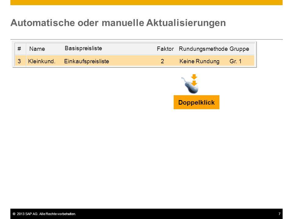 ©2013 SAP AG. Alle Rechte vorbehalten.7 Automatische oder manuelle Aktualisierungen Gr. 1Keine RundungEinkaufspreislisteKleinkund.3 GruppeRundungsmeth