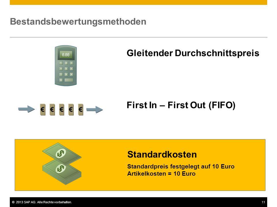 ©2013 SAP AG. Alle Rechte vorbehalten.11 Bestandsbewertungsmethoden Standardkosten Gleitender Durchschnittspreis First In – First Out (FIFO) €€€€€ Sta