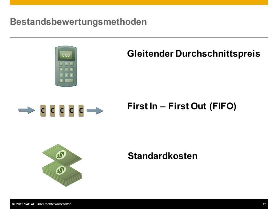©2013 SAP AG. Alle Rechte vorbehalten.12 Bestandsbewertungsmethoden €€€€€ Gleitender Durchschnittspreis First In – First Out (FIFO) Standardkosten