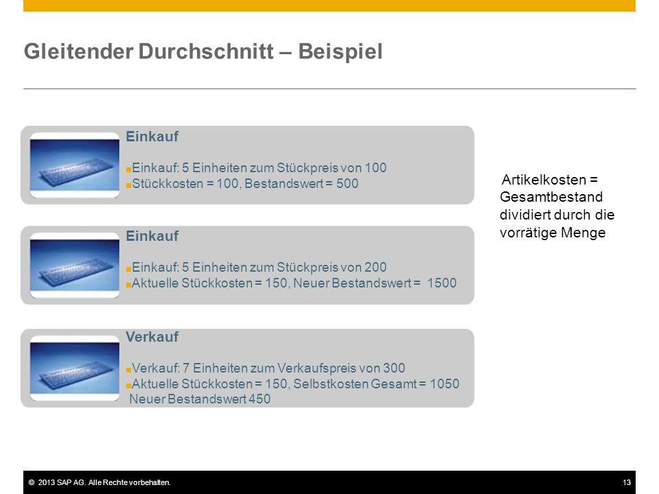 ©2013 SAP AG. Alle Rechte vorbehalten.13 Gleitender Durchschnitt – Beispiel Einkauf ■ Einkauf: 5 Einheiten zum Stückpreis von 100 ■ Stückkosten = 100,