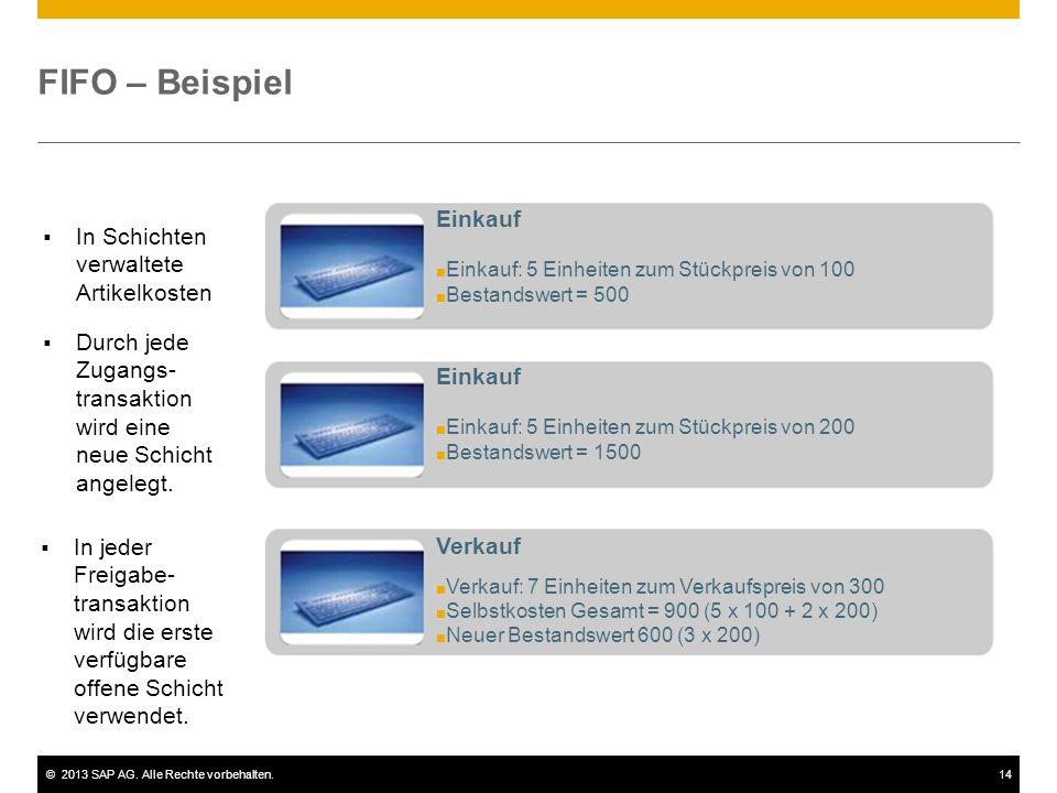 ©2013 SAP AG. Alle Rechte vorbehalten.14 FIFO – Beispiel Einkauf ■ Einkauf: 5 Einheiten zum Stückpreis von 100 ■ Bestandswert = 500 Einkauf ■ Einkauf: