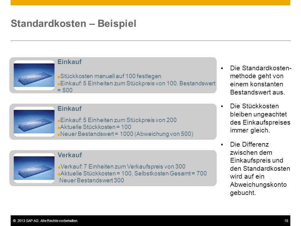 ©2013 SAP AG. Alle Rechte vorbehalten.15 Standardkosten – Beispiel  Die Standardkosten- methode geht von einem konstanten Bestandswert aus.  Die Stü